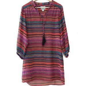 Cynthia Steffe Striped Sheer Tassel Dress Size 2